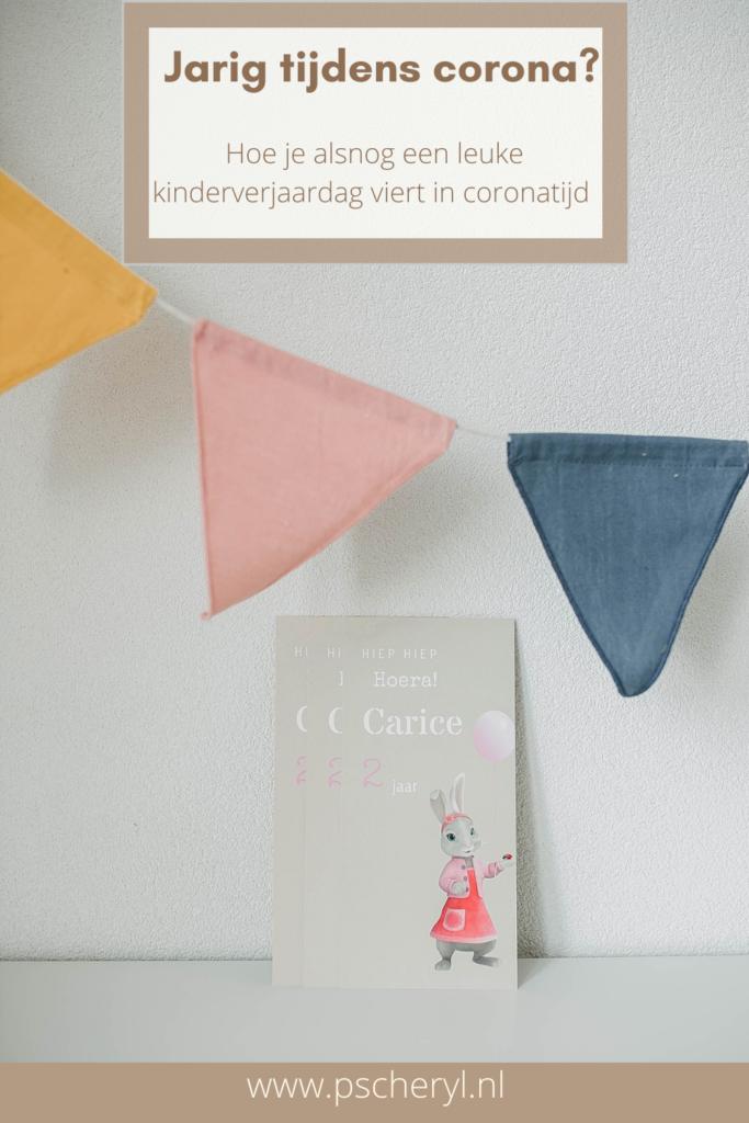 kinderverjaardag vieren in coronatijd kaart uitnodiging taart slingers